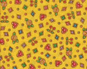 Mary Engelbreit Fabric, 1 Yard, Circa 2003 ,Yellow Background,Cherries and Hearts, Flowers and Jewels,Destash, Debbie Sews Retro