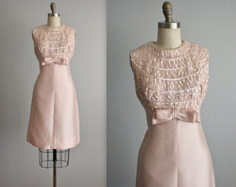 60's Cocktail Dress // Vintage 1960's Pink Sequin Shantung Cocktail Party Dress S M