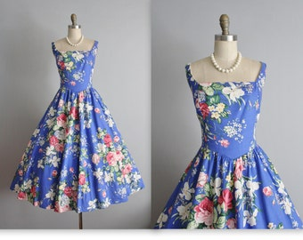 Vintage Floral Dress // 80's does 50's Cabbage Rose Print Cotton Garden Party Full Summer Dress L XL