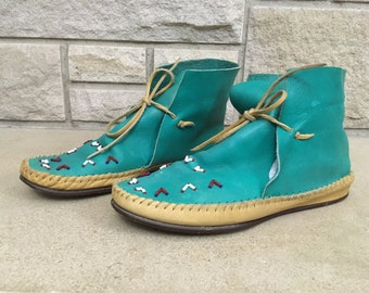 1980s Moccasin Booties * Turquoise Leather Boots * Vintage Ankle Boots * Womens Size 8.5 81/2
