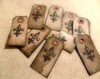 25 Stamped Cottage Chic Fleur De Lis Hang Tags - Stamped - Favors - Gift wrapping