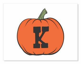 Printable Digital Download DIY - Fall Art Monogram Pumpkin - rOund K - Print frame or cut out for seasonal Halloween decorating orange black