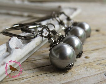 Gray Pearl Dangle Gunmetal Earrings, Gray Swarovski Pearl Earrings, Gunmetal Gray Pearl Leverback Earrings, MagpieMadness for Etsy
