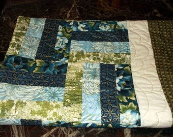 RAIL FENCE QUILT New blue, green and gold lap quilt/wall hanging