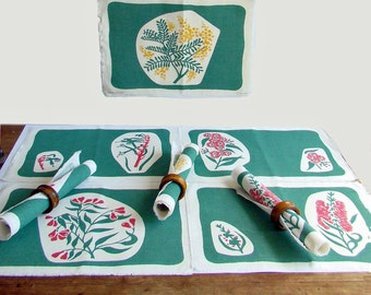 Linen Placemats, Screen Printed, Australian Flora, Native Flowers, Green and Gold, Yellow Wattle, Banksia Flower, Kangaroo Paw,