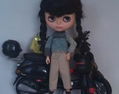 Blue vintage style sweater and workmans pants for Blythe or Pullip