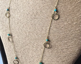 Multi Hoop Necklace, Brass Necklace, Turquoise Rondelles, Opera Length Necklace, Elegant Necklace, Etsy, Etsy Jewelry