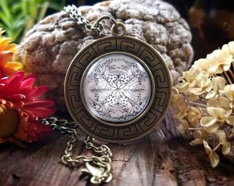 August Nature Mandala Pendant Necklace (bronze finish)