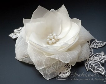Bridal Hair Piece Satin Flower with birdcage veil, White Satin and Organza flower clip with French Netting Veil