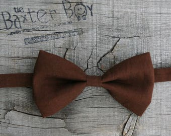 Ready-to-ship --- Size SMALL or LARGE Solid Chocolate Brown Bow Tie for little boys - ring bearer, accessory, photoshoot
