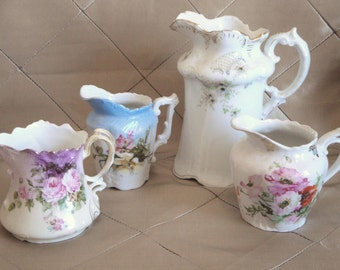 4 Antique Pitchers / Creamers /Spooners Instant Collection