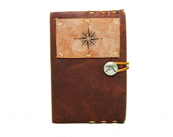 Small Leather Journal with True North Compass in Merlot Saddle