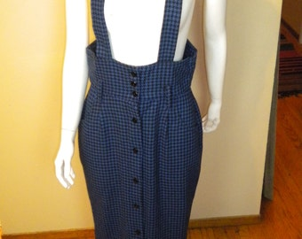 Vintage Womens Skirt with Suspender Straps High Waist Button Up Maxi Skirt Houndstooth size Medium