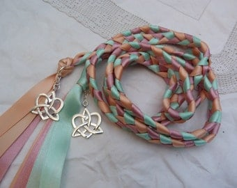 Pretty pastel hand fasting wedding cord - Peach, baby pink, seafoam aqua and silvertone celtic love knots