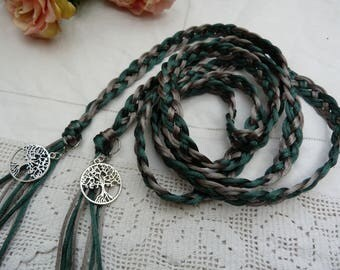 Celtic 8 strand weave satin silky cord - handfasting wedding - greens - silver tree of life