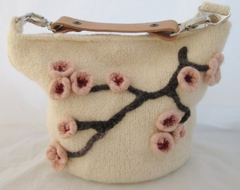 Hand Knit, Felted White with Cherry Blossom Flowers Bucket Bag, Two Leather Straps, Handmade, Shoulder Hand Bag, Simple Felted Bag,