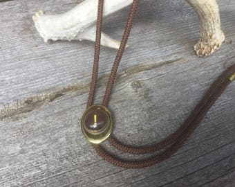 Mens Bolo Tie ! Repurposed, Goldtone Bolo with Question Mark Focal, Mens Rodeo Attire, Bolo Accessory for Men