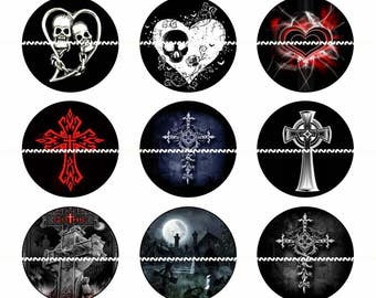 Gothic Magnets, Gothic Pins, Gothic Wedding Favors, Party Favors,  Magnet Gift Sets, Pin Gift Sets, Fridge Magnets, Refrigerator Magnet
