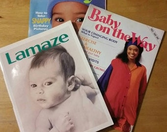 Vintage baby care, mom, and Lamaze pregnancy guides magazines from 1990s