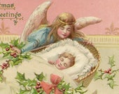Angel Watches Over Infant Baby in Cradle Holly Decorated Embossed Vintage Tuck Christmas Postcard