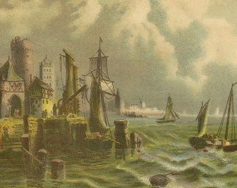 Scottish Coast Bufford Lithograph Suitable For Framing – Moody Seaside Scene Clipper ships and Angry Sea Antique Print
