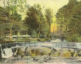 The Falls Hunts Mills near Providence Rhode Island Antique Postcard 1906 with Flag Cancel Rotograph Co