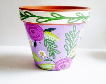 """Hand Painted Flower Pot 6 Inch Terracotta Planter, """" Alluring, Pretty in Purple"""" Housewarming, Birthday, Get Well Gift- Ready to Ship"""