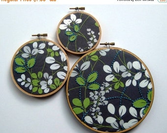On Sale Hand Embroidered Leaves. embroidered fabric in leaf print. select 3, 4 or 6 inch hoop. handmade. hoop art. wall wear. embroidery by