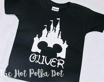 Personalized Magic Kingdom Toddler or Youth Boys Black TShirt Personalized with Name White Disney Castle - Boy Disney Shirt