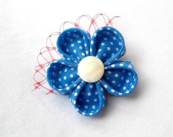 Cute Blue Polka Dot Flower Hair Clip with Red Birdcage Netting