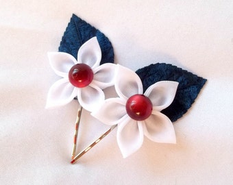 Cute Flower Bobby Pins Navy White and Blood Red Kanzashi Hair Accessories
