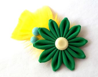 Green Yellow Blue Cute Flower Hair Clip with Feathers Fascinator