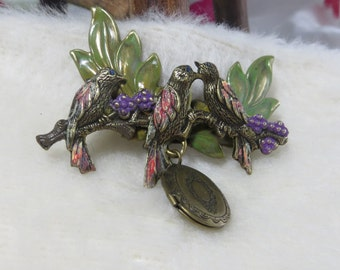 Brass Stamping Hand Painted Brass for Crafting Assemblage Mixed Media Birds on a Branch with Locket