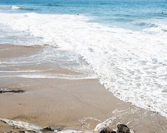 """Coastal Art, Beach Photography, Ocean, Sea, Ombre, Blue White Coastal Decor, Beach House, Pacific Ocean, Santa Barbara Wall Art """"Shoreline"""""""