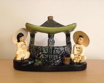 Vintage 1950s Chalkware TV Lamp Asian Couple Midcentury