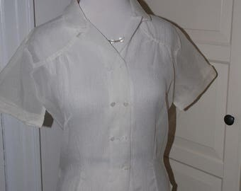 """40s, 50s Blouse, Sheer, White, Fitted, Heart Shaped Buttons, Size Medium, 38"""" Bust"""