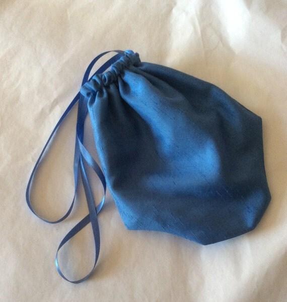 Regency Reticule,Bag. Victorian. Jane Austen. Cornflower Blue Faux Silk.