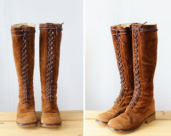 Suede Lace Up Boots 6 1/2 • 60s Boots • Suede Boots • Knee High Boots • Chunky Heel Boots • Crepe Sole Mod Boots | SH420