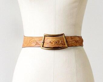 Tooled Leather Belt • Vintage Leather Belt • 70s Belt • Leather Corset Belt • Floral Belt • Brown Leather Belt • Boho Belt | BT327