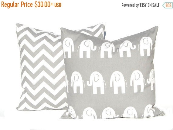 15% Off Sale Decorative Pillow Covers -  Children Decor - Gray Cushion Covers - Elephant and Chevron - Nursery Decor - All Sizes