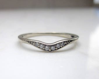 Estate 14k Solid White Gold and Diamond Contoured Wedding, Anniversary, Stacking Thin Band, Size 7 // Curved Wedding Band //