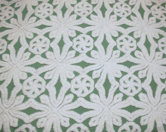 Lovely Emerald Green Buttons 'n Bows or Snowflake Design Hofmann Vintage Chenille Bedspread Fabric Piece - 24 by 18 Inches