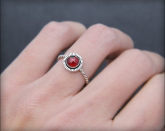STERLING GARNET RING - natural garnet ring, january birthstone, garnet jewelry, garnet stacking ring