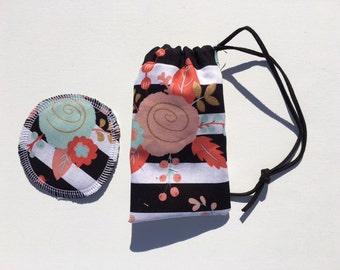 Menstrual Cup Coaster Menstrual Cup Bag Floral Stripe