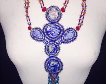 STUNNING OOAK boho festival beaded runway necklace