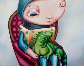 Lizard Boy- A4 Limited Edition signed Pop Surrealism Fine Art Print - by Rachel Favelle