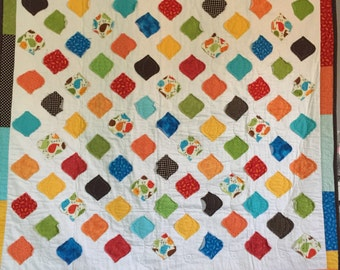 Childrens baby crib or lap quilt in fall colors