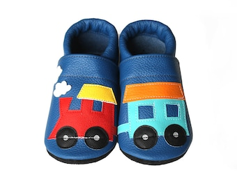 Leather Baby Booties, Baby Shoes, Train Infant Newborn Nursery Children Blue Navy