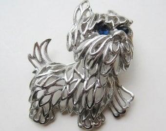 Vintage Park Lane Silver Filigree Trembler Yorkie Yorkshire Terrier Dog Brooch Pin