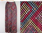 Size 8 Long Skirt - Kaleidoscope Velour 1970s Maxi Skirt - 70s Ankle Length Pixel Print Knit - Pink - Chartreuse - Blue - Waist to 29 -22632